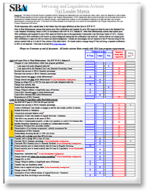 SBA's Lender Matrix and the Cardinal Rules of Servicing